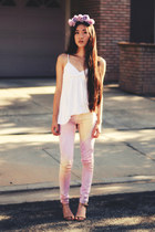 anchor LuLus necklace - tie dye 2020AVE jeans - babydoll Forever 21 top