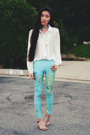 map print dreamachine leggings - bow tie Sugarlips blouse - Nine West pumps