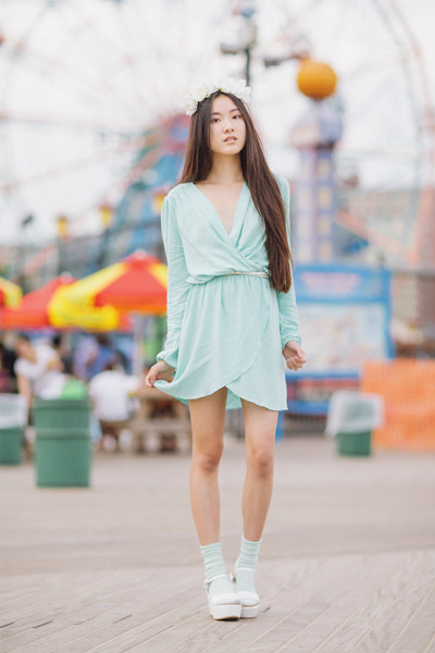 wrap Love dress - aqua 2020AVE socks - flower crown DIY accessories
