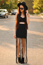 fringe maxi PacSun skirt - wide brim OASAP hat - cat eye romwe sunglasses