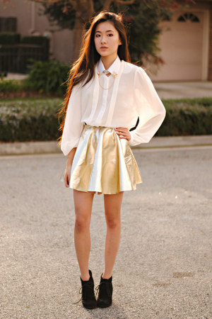 gold skater awwdore skirt - Sugarlips blouse - Merrin and Gussy accessories