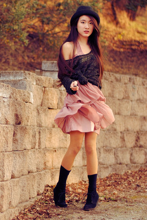 chiffon H&M dress - fedora Forever 21 hat