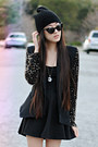 Beaded-sleeve-lulus-blazer-ebay-necklace-black-skater-romwe-skirt