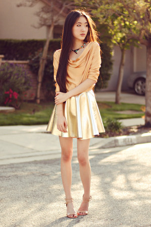 gold skater awwdore skirt - Lulus necklace - cowl neck chicnova top