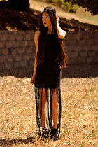 black Love dress - black fringe maxi PacSun skirt