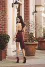 Lulus-dress-lulus-purse-lulus-bracelet-burgundy-caged-lulus-heels