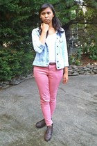 pink colored denim Forever21 jeans - dark brown boots