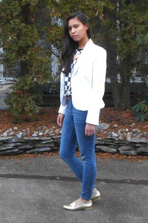 white Zara blazer - blue Delias jeans - black Forever21 sweater