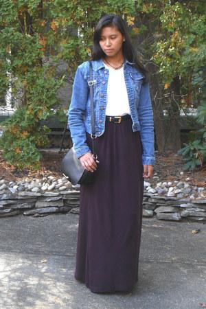 black H&M bag - navy Tommy Hilfiger jacket - deep purple H&M shorts