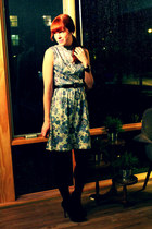 vintage dress - black opaque HUE tights - black suede Jessica Simpson heels