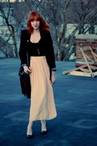 Covered blazer - fringed H&M bag - vintage necklace - H&M top - thrifted heels -