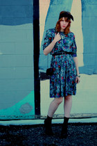 thrifted vintage dress - black vintage scarf - black tiny thrifted vintage bag -