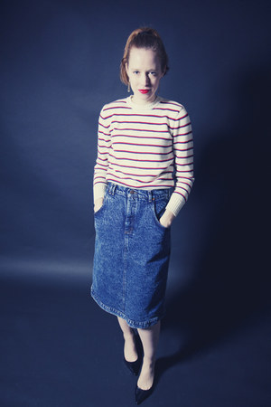 white striped vintage sweater - blue stonewashed vintage skirt