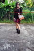 dress - boots - bag - accessories