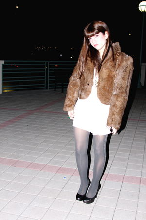 vintage thrifted coat - Go Silk dress - calvin klein shoes - Anthropologie stock