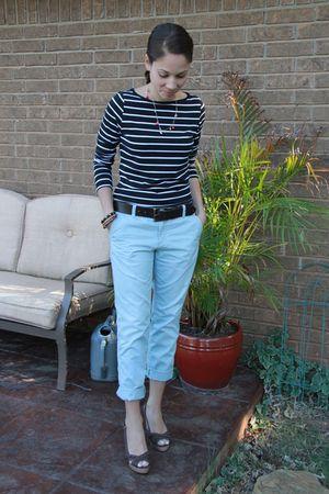 blue Ann Taylor Loft pants - black Forever 21 top - brown Payless Shoes shoes