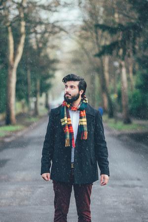navy asos coat - Glen Lossie scarf - brown Base London loafers