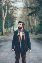navy asos coat - Glen Lossie scarf - brown Base London loafers