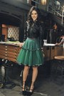 Black-leather-jacket-teal-poofy-skirt-black-wedges