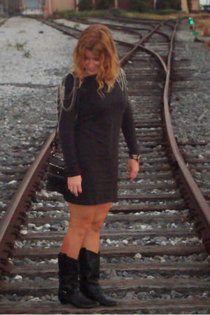 H&M dress - gianni bini boots - Target purse - Watch accessories