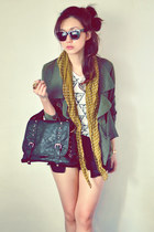 army green coat - white shirt - mustard scarf - black bag