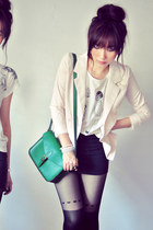 beige blazer - ivory shirt - green bag - black skirt