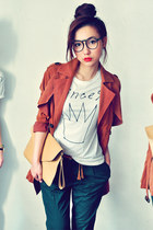 white t-shirt - brick red coat - mustard bag - teal pants