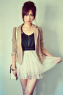 Light-brown-blazer-black-shirt-off-white-bag-beige-skirt