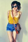 Mustard-shirt-eggshell-shirt-crimson-bag-navy-shorts-black-sunglasses