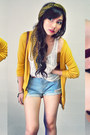 Mustard-cardigan-light-blue-shorts-off-white-top-maroon-wedges