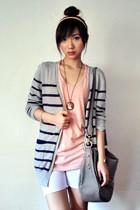 light pink cotton on top - navy Gmarket Korea cardigan - silver Gmarket Korea ca
