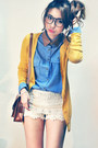 Sky-blue-shirt-off-white-shorts-mustard-cardigan-brown-accessories
