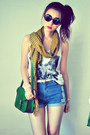 Mustard-scarf-dark-green-bag-sky-blue-shorts-off-white-belt-red-accessor