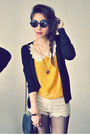 Mustard-shirt-off-white-shorts-black-cardigan