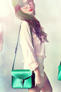 Dark-green-bag-beige-shorts-ruby-red-accessories-light-pink-blouse