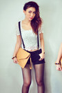 White-top-mustard-bag-black-shorts-crimson-wedges