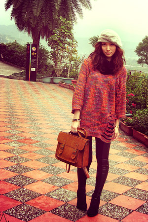 silver hat - carrot orange sweater - purple sweater - coral sweater - brown bag