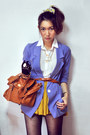 Violet-blazer-mustard-skirt-cream-shirt-burnt-orange-belt-dark-brown-bag