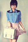 Off-white-bag-light-pink-skirt-sky-blue-blouse-ruby-red-blouse