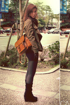 army green jacket - black shirt - dark brown bag