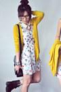 Salmon-dress-ivory-dress-mustard-cardigan