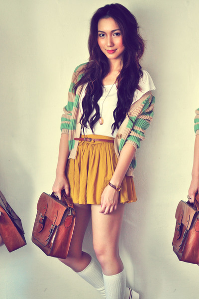 ivory shirt - dark brown bag - aquamarine cardigan - mustard skirt