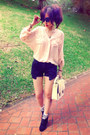 Off-white-bag-black-shorts-crimson-socks-peach-blouse