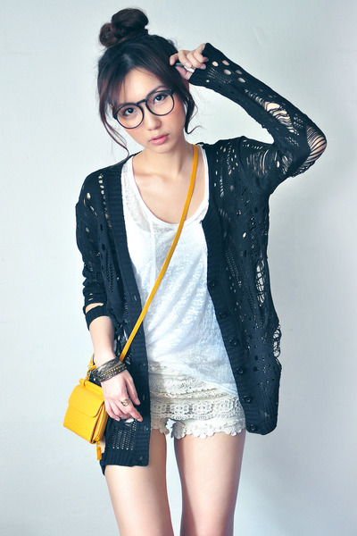 ivory shorts - mustard bag - black cardigan