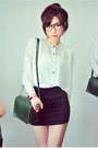 Dark-green-bag-black-skirt-white-wwwchicwishcom-blouse