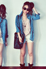 Off-white-shorts-sky-blue-jacket-black-bag-light-pink-top