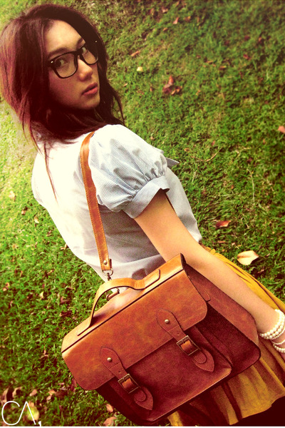 mustard skirt - light blue shirt - brown bag