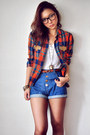 navy shorts - white shirt - carrot orange blouse - dark brown stockings