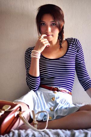 navy shirt - light blue skirt - ivory shirt - dark brown belt - gold accessories