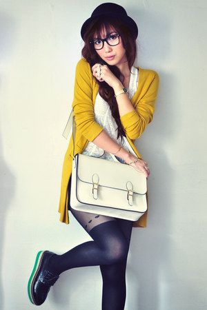 off white bag - white shirt - black shorts - mustard cardigan